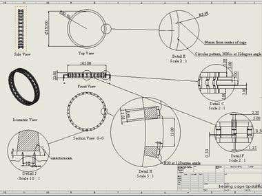 Bearing Cad modeling from 3D scan and drafting.