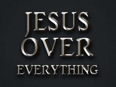 """Jesus Over Everything"" Logo."