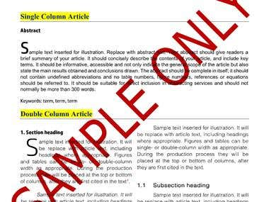 MS Word Template for Articles