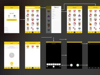Mobile app UI design for emoji