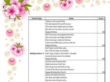 SMS Text Short poems/messages