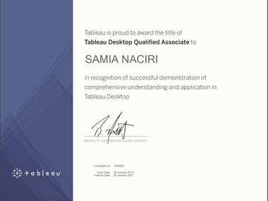 Tableau software certificate