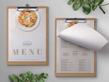 Elegant Restaurant Food Menu