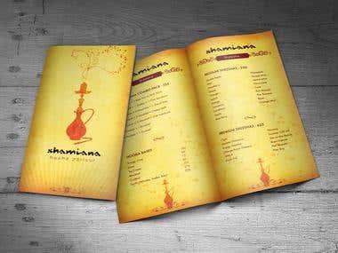 Shamiana Menu Cards Designing