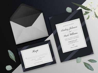 Dark Elegant Wedding Invitation Set