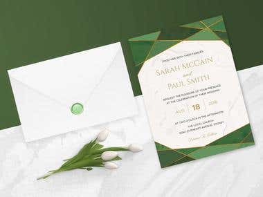 Green Emerald Wedding Invitation Set