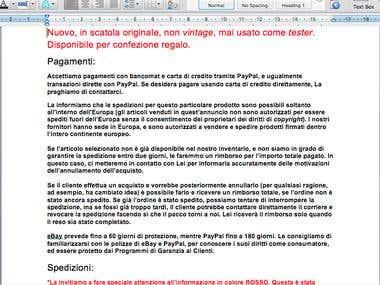 Translation ENGLISH to ITALIAN (ebay vendor)