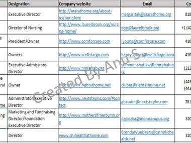 Sample for Nursing Home Executives Lead Generation Project