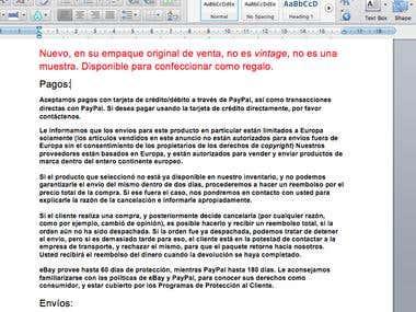 Translation ENGLISH to SPANISH (ebay vendor)
