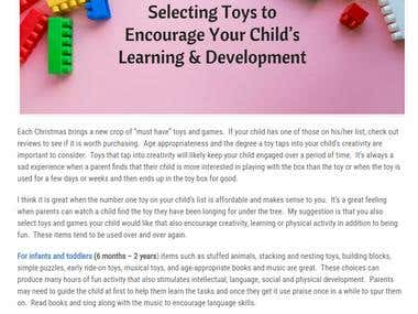 Toys to Encourage Your Child's Learning & Developent