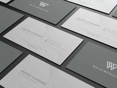 Business card designed for Wallis Metals