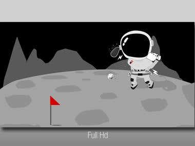 Astronaut Golfing Drawing...