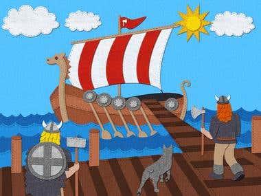 Digital felt illustration for children's book