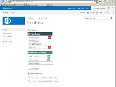 SharePoint 2013 Upcoming Brithdays WebPart