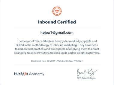 Inbound Marketing Certified