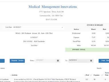 Generated Invoice of Medical Management system