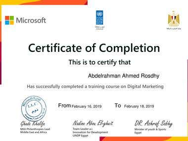 Certificate of Completion in Digital Marketing