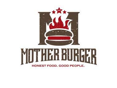 "This logo is design for ""MOTHER BURGER ""."
