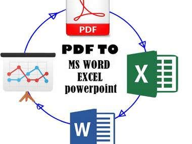 Copy Typing PDF to Ms Word / Excel / power point