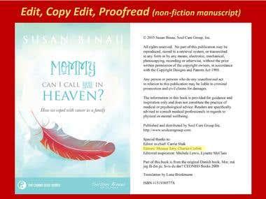 Manuscript services: edit, copy edit, proofread