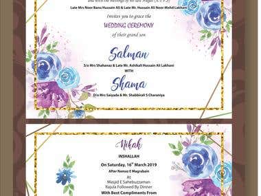 Salman weds Shama Wedding Card Design