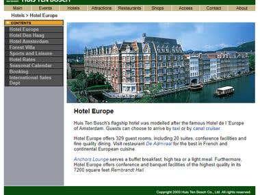 Japanese to English translation of Huis ten Bosch website