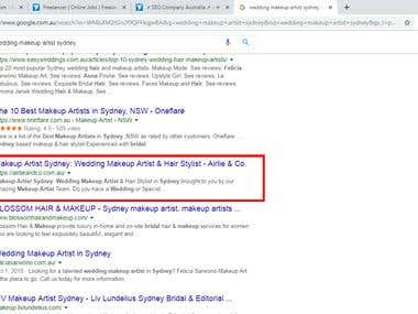 SEO on Wedding Makeup Artist Sydney First page ranking