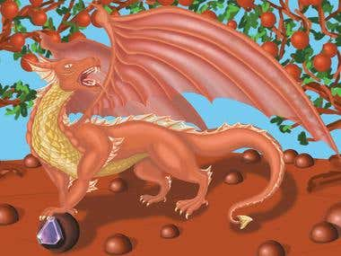 Concept of illustration Red Dragon