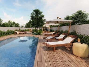 Pool area rendering