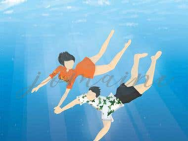 Couple Swimming Illustration