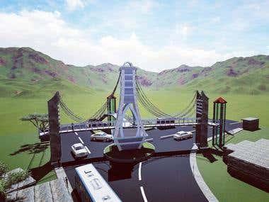 3D Model Overhead Footbridge