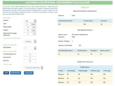 Calories and Nutritional Requirement Calculator