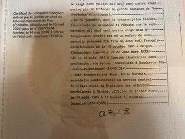 Translation of a legal document