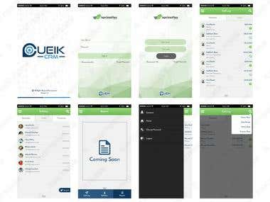 Cueik CRM App Screen Design