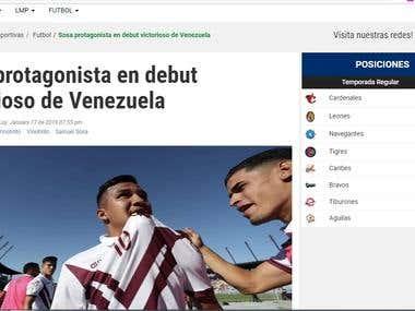 Sosa protagonista en debut victorioso de Venezuela