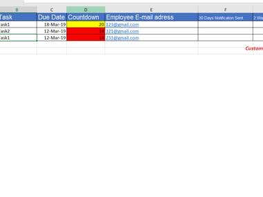 Autofilled Excel Spreadsheet with Outlook Task Integration