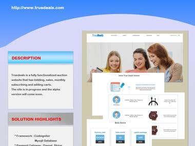 Truedeals Auction website