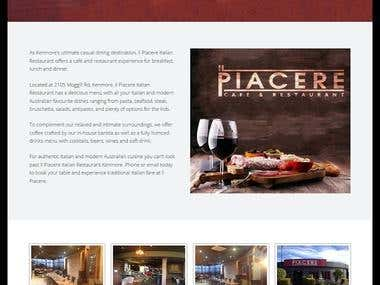 Il Piacere Italian Cafe Website & Facebook Page