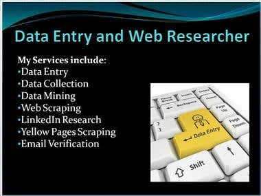 Web Research Or Internet Research & Data Entry