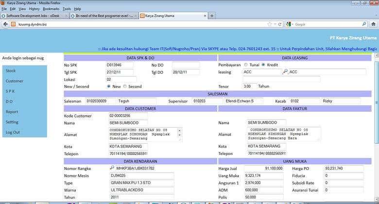 Software for Car Dealer | Freelancer