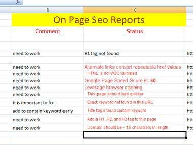 On Page Seo Report