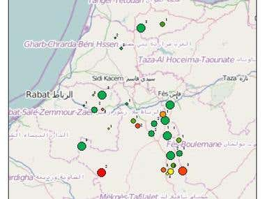 Geolocation Chart Map sample in Morocco