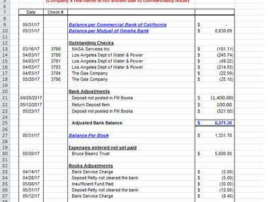 Excel VBA for Bank Reconciliation