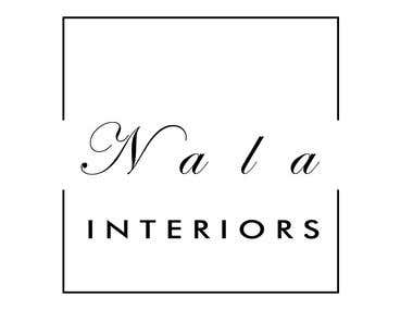 Simple Black and white logo for Nala Interiors