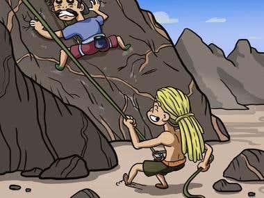Mountain Climbing Cartoon