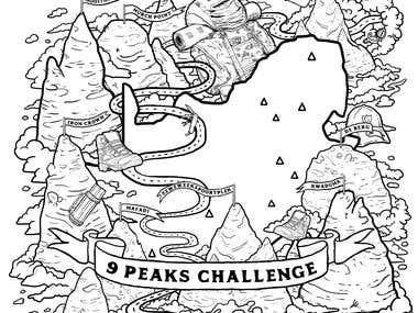 9 Peaks Challenge Logo Design