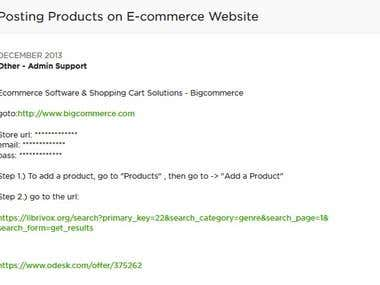 Posting Products on E-Commerce Website