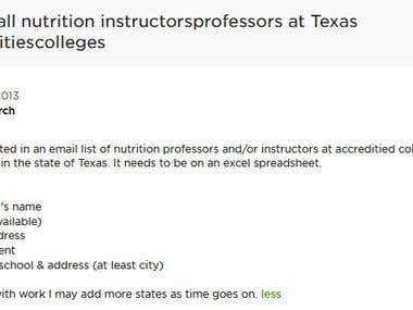 List of all Nutrition instructorsprofessors at Texas univerc