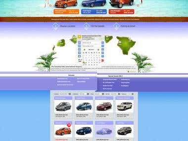 Home Page mockup design for car rental business industries
