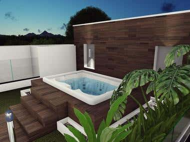 Project Terrace with jacuzzi in house 98 country set.